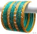 C-Green & Golden Color Indian Ethnic Belly Dance Bangles Metal Bracelet Set
