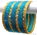 Beautiful Deep Turquoise & Gold Color Indian Bangles Belly Dance Bracelet Set