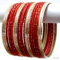 Red & Gold Indian Bangles Jewellery Ethnic Belly Dance Costume Bracelet Set