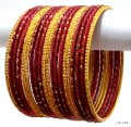 Maroon & Gold Indian Bangles Jewellery With Glitter Dust Metal Bracelet Set