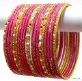 Fuschia/Gajari Pink & Gold Indian Bangles Jewellery Belly Dance Bracelet  Set