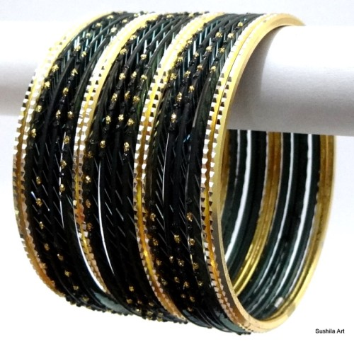Black & Gold Indian Metal Bangles Jewellery Bollywood Fashion Bracelet Set