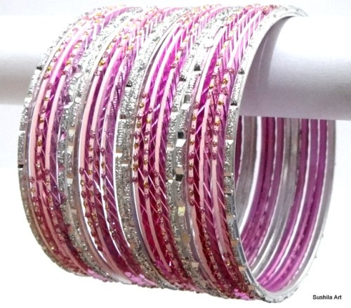 Baby Pink & Silver Indian Ethnic Belly Dance Bangles Costume Metal Bracelet Set