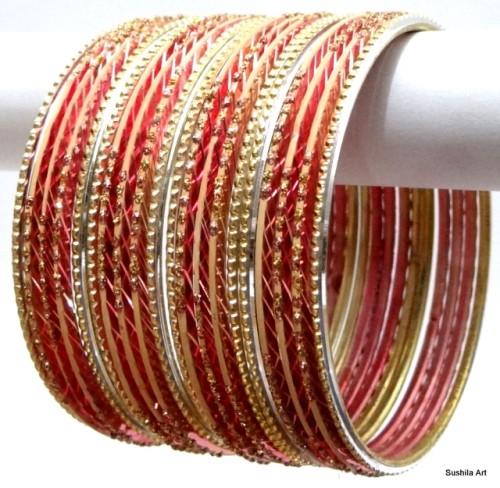 Peach & Golden Color Ethnic Belly Dance Indian Bangles Metal Bracelet Set
