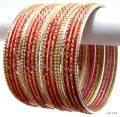 Peach & Golden Color Ethnic Belly Dance Indian Bangles Metal Bracelet Set