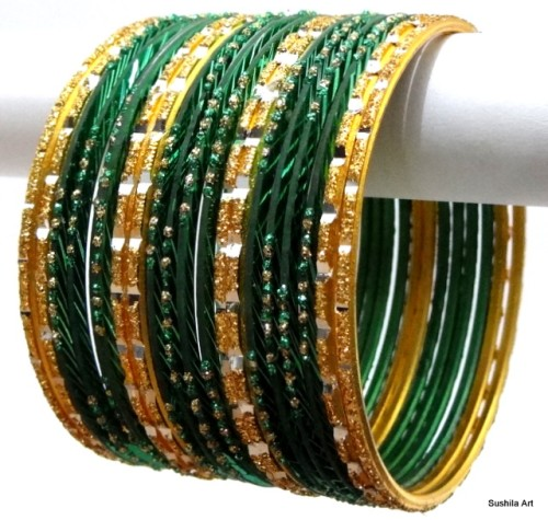 Deep Green & Golden Color Indian Bangles Belly Dance Bracelet Set