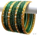 Deep Green & Golden Color Indian Bangles Belly Dance Bracelet Set