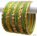 Indian Ethnic Belly Dance Bangles Mehendi Green & Golden Color Bracelet Set