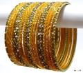 Golden Yellow Color Indian Bangles Belly Dance Dress Matching Bracelet Set