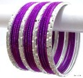 Purple & Silver Ethnic Belly Dance Jewellery Indian Bangles Metal Bracelet Set