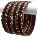 Stunning Copper/Chocolate Indian Bangles Jewellery Bollywood Girls Bracelet Set