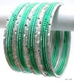 Pista Green & Silver Indian Ethnic Belly Dance Bangles Metal Bracelet Set