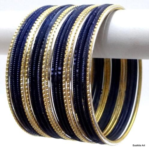 Deep Blue & Light Golden Color Ethnic Indian Bangles Bollywood Bracelet Set
