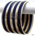 Deep Blue & Light Golden Color Ethnic Indian Bangles Bollywood Bracelet Set
