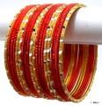 Dark Rust & Golden Color Indian Bangles Ethnic Belly Dance Bracelet Set
