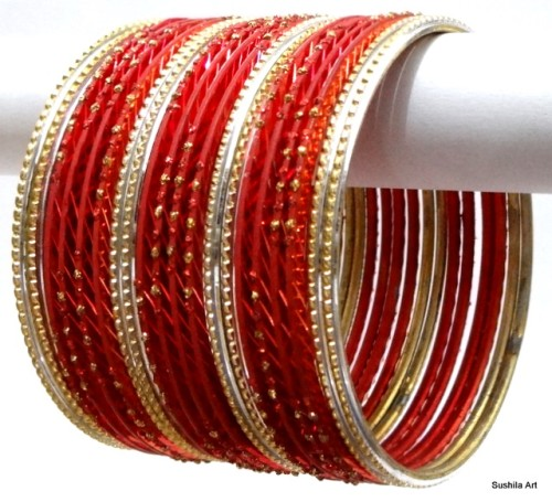Beautiful Red & Gold Indian Bangles Jewellery Costume Matching Bracelet Set
