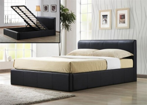 Beautiful Super Contemporary Brown Leather Bed Frame The PALERMO Gas Lift Bed in Brown Faux Leather Is a stylish modern with a padded high headboard and with lower