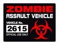 Zombie Assault Vehicle License Vinyl Decal - Sticker License Label Permit.jpeg
