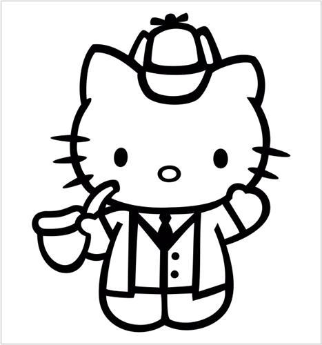 Hello Kitty Sherlock Holmes Die Cut Vinyl Decal Sticker