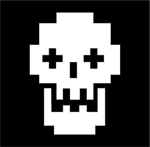 8 Bit Skull Retro Jpeg