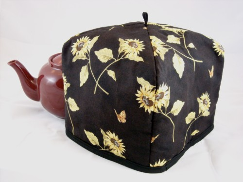 Tea Cozy (Standard) - Sunflowers & Butterflies on Black