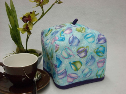 Tea Cozy (Personal) - Teacups Tossed on Teal by OneMark Creations