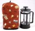 Standard Size French Press Cozy - Bistro Coffee Pots on Rust Red - by OneMark Creations