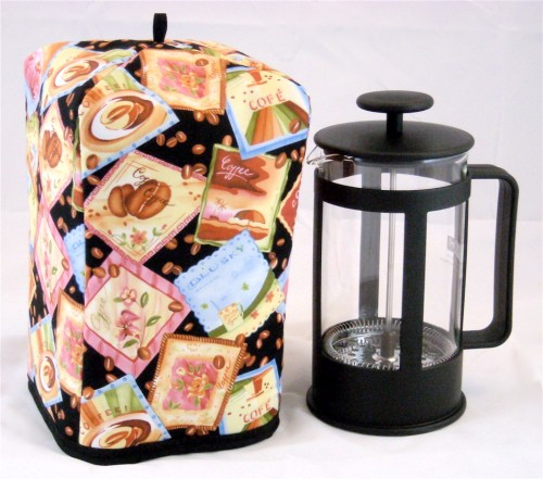 Standard Size French Press Cozy - Jumpin Java Coffee on Black - by OneMark Creations