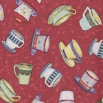Blender Cover - Colorful Teacups on Red by OneMark Creations