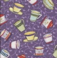 Blender Cover - Colorful Teacups on Purple by OneMark Creations