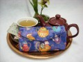 Tea Bag Travel Wallet - Large - Purple with Pretty Teapots by OneMark Creations