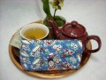 Tea Bag Travel Wallet - Large - Teacups on Blue Jay by OneMark Creations