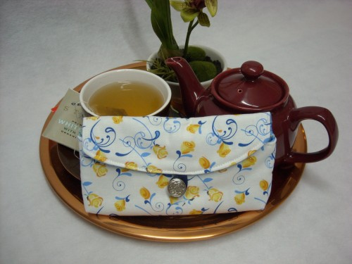 Tea Bag Travel Wallet - Large - Nancys Sweet Roses by OneMark Creations