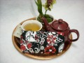 Tea Bag Travel Wallet - Large - Black, White and Red All Over by OneMark Creations
