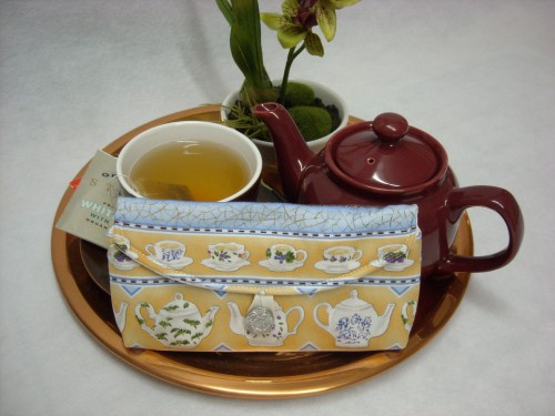 Tea Bag Travel Wallet - Large - Tea Garden Teapots and Stripes by OneMark Creations