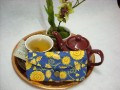 Tea Bag Travel Wallet - Large - Golden Flowers on French Blue by OneMark Creations