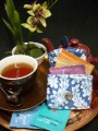 Small Teabag Travel Wallet - Verdana Blue and White by OneMark Creations