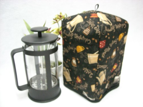 French Press Cozy - Bistro Pots on Black by OneMark Creations