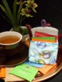 Small Teabag Travel Wallet - Teacups Tossed on Teal by OneMark Creations