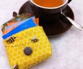 Tea Bag Travel Wallet - Honey Bees by OneMark Creations