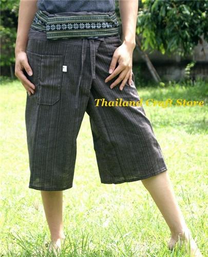 Cotton Thai Fisherman Yoga Tai Chi Capri Cropped 3/4 Length Pants Trousers TCS07
