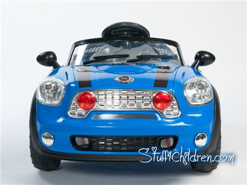 licensed mini cooper electric ride on car for kids remote control seatbelt mp3 blue