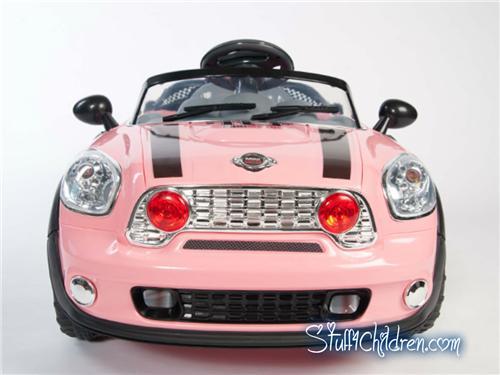 WM mini cooper pink kids ride on car front.jpeg