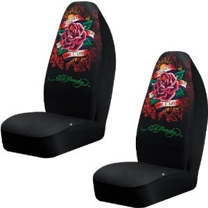 Ed Hardy Dedicated To The One I Love Seat Cover Pair