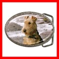 Chrome Metal Belt Buckle AIREDALE TERRIER Dog Puppy Pet (21603942)