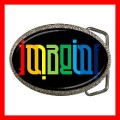 Chrome Metal Belt Buckle AMBIGRAM IMAGINE Art Peace New (21604094)