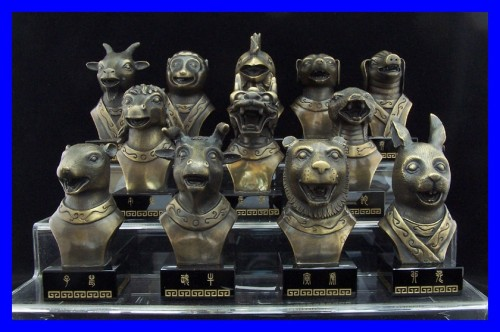 Bronze Chinese Zodiac Sign Animal Sculpture Statue Set Of