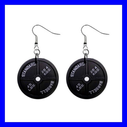 Button Dangle Earrings DUMBBELL Barbell Weight Lifting Sports GYM (12140816)