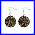 Button Dangle Earrings LEOPARD PRINT Skin Jaguar Gougar Puma Wild (12140817)