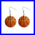 Button Dangle Earrings BASKETBALL World Champion Sports Gift (12141675)